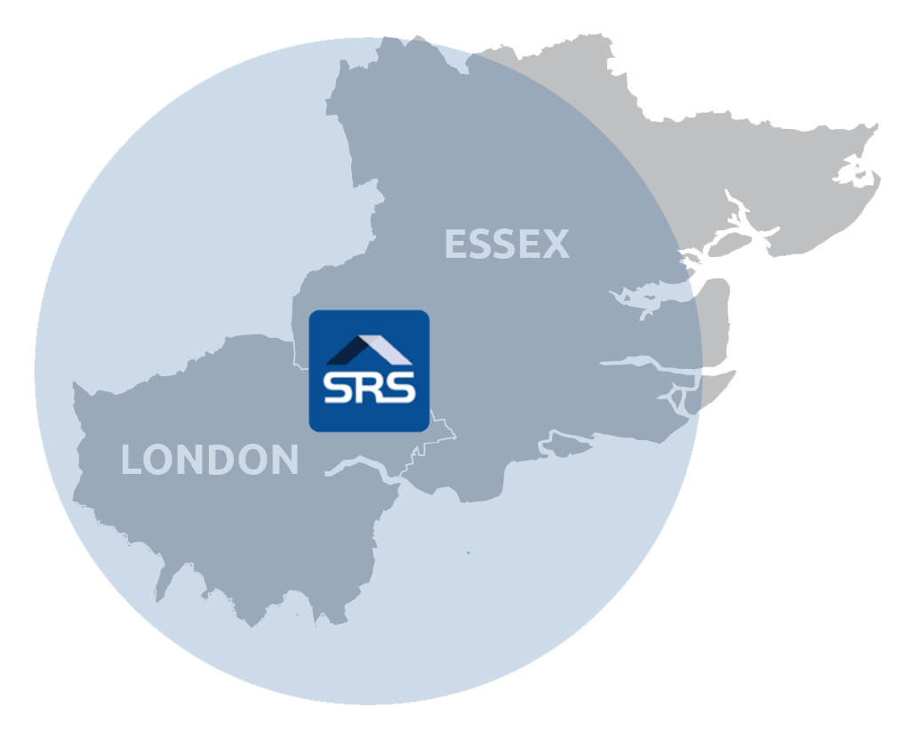 SRS Roofing Contractors Essex and London Coverage Map